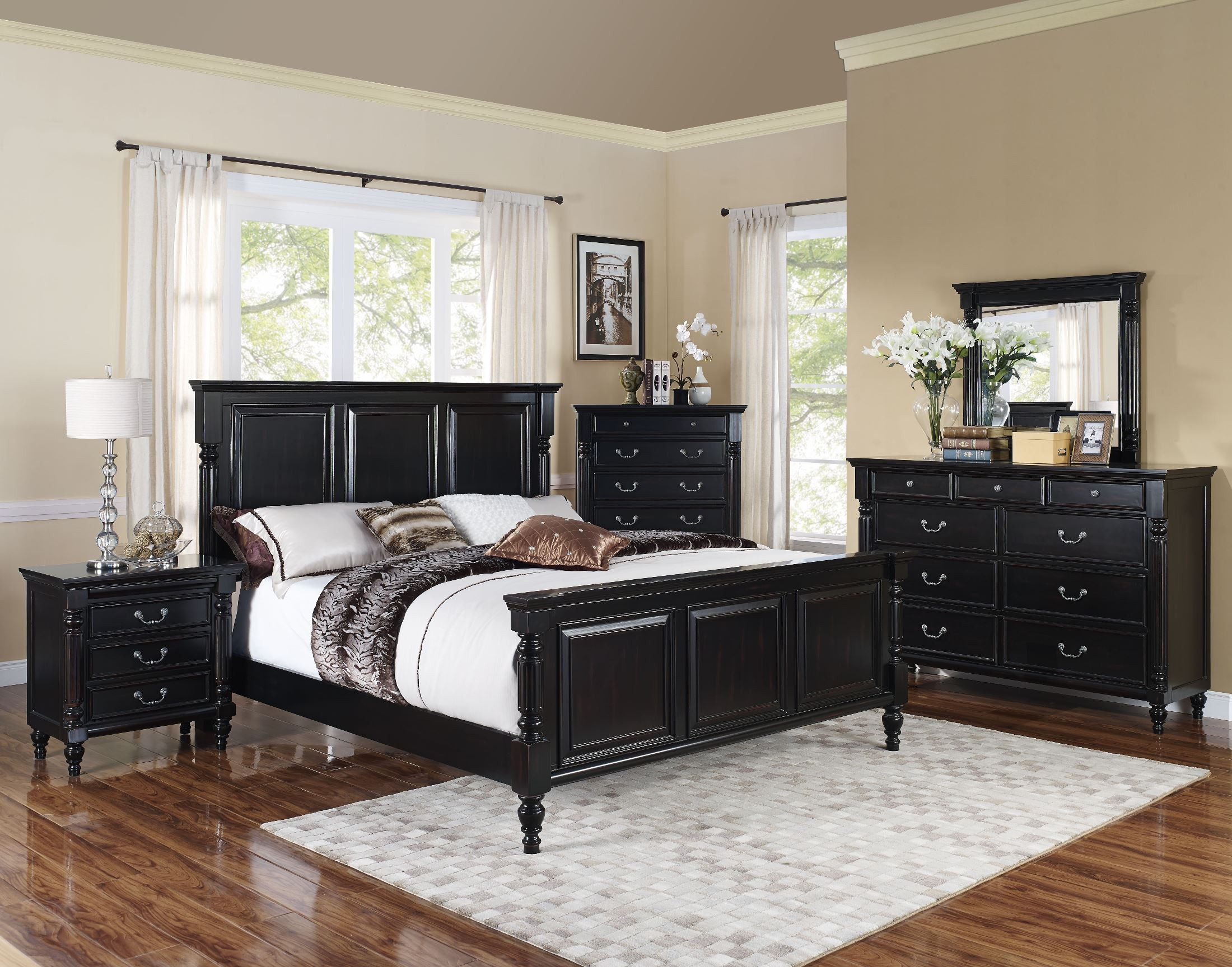 Martinique Rubbed Black Panel Bedroom Set From New