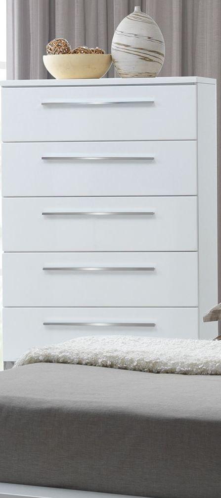 Sapphire High Gloss White Laminate Platform Bedroom Set: Sapphire High Gloss White Laminate Chest From New Classic