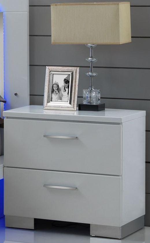 Sapphire High Gloss White Laminate Platform Bedroom Set: Sapphire High Gloss White Laminate Nightstand From New
