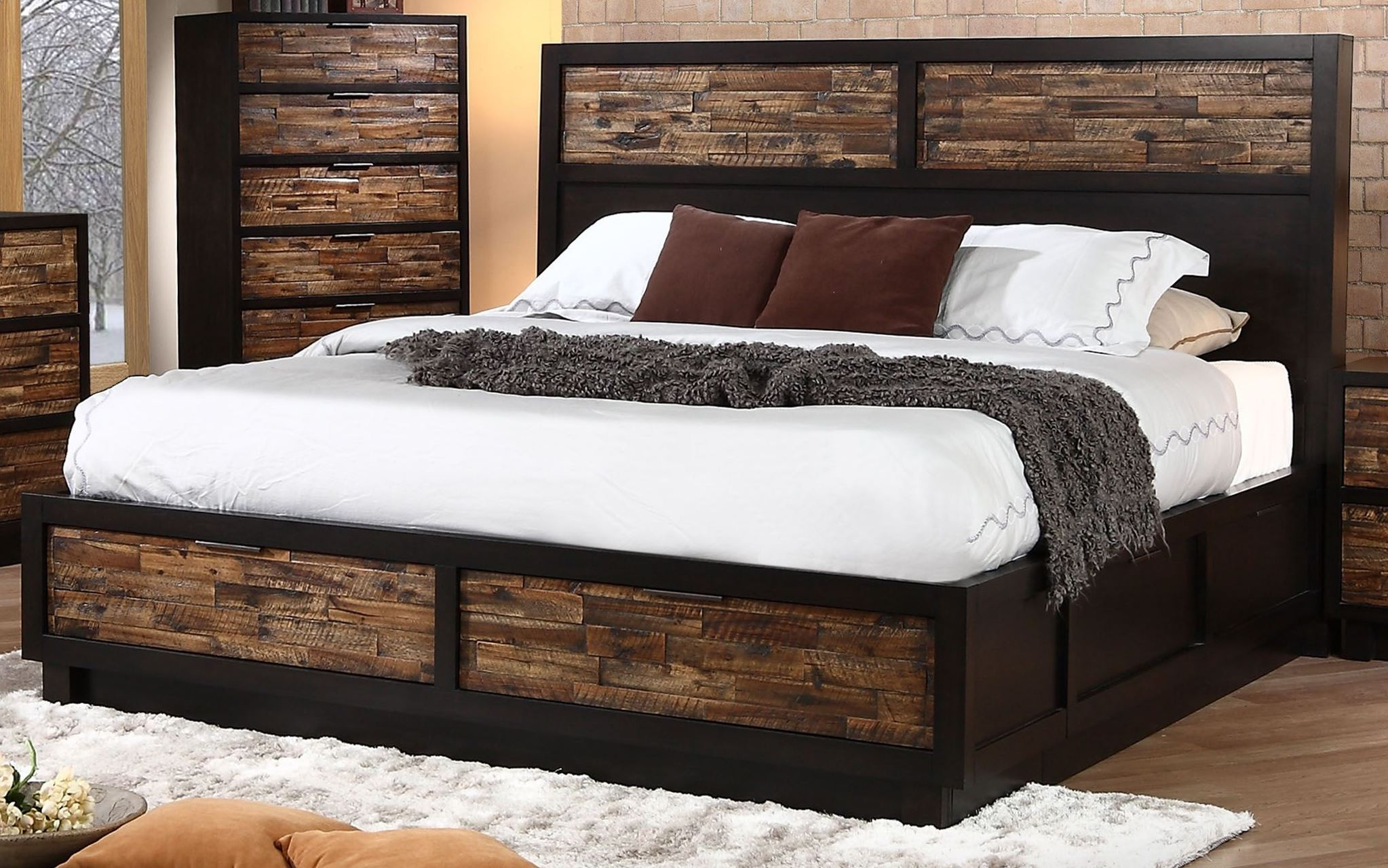 Makeeda rustic cal king platform storage bed from new classics b3105 110 128 230 coleman furniture