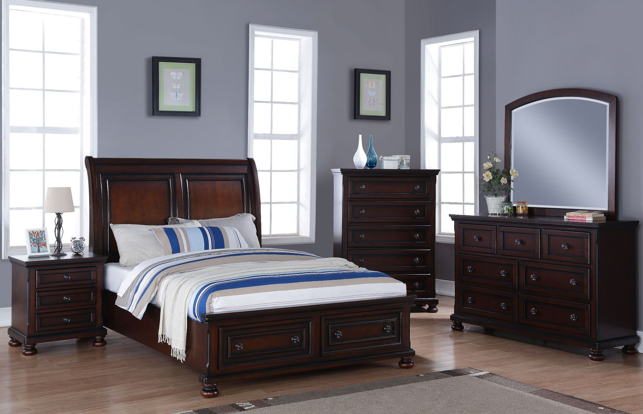 Jesse Master Cherry Brown Storage Bedroom Set From New Classic Coleman Furniture