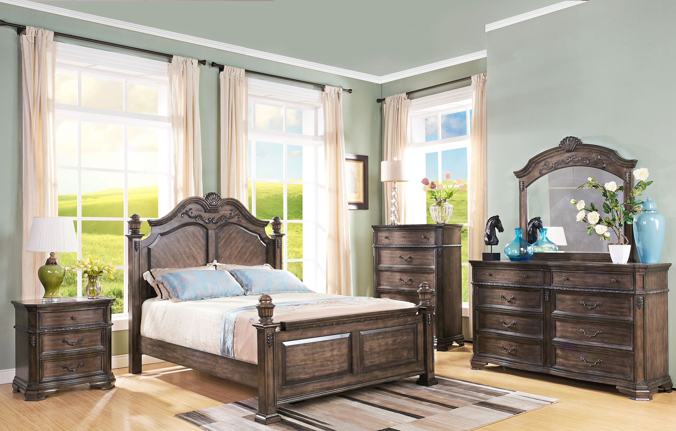 Larissa weathered brown poster bedroom set from new for Brown bedroom furniture