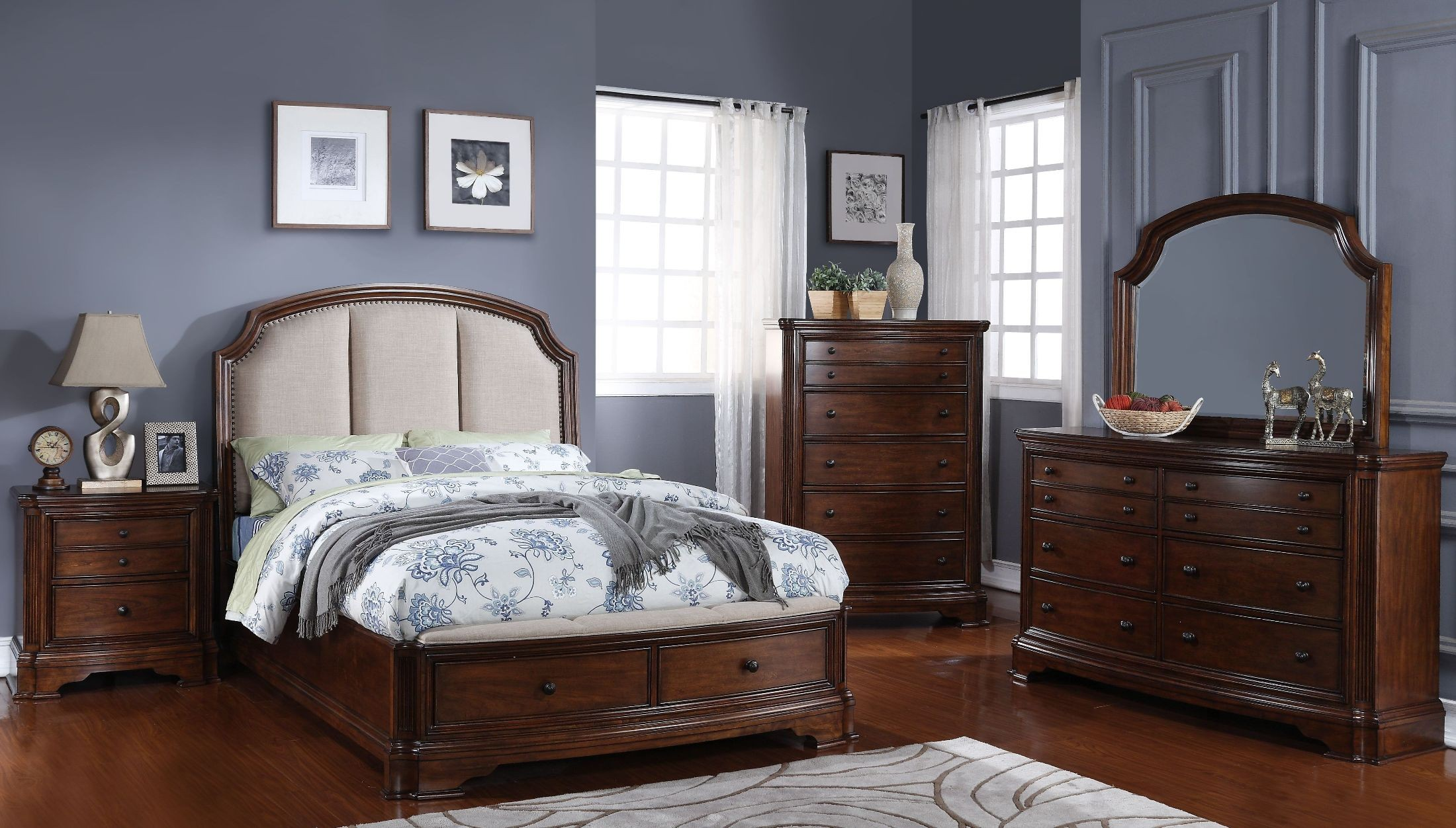 Chateaux Paix Cherry Upholstered Panel Storage Bedroom Set From New Classic Coleman Furniture