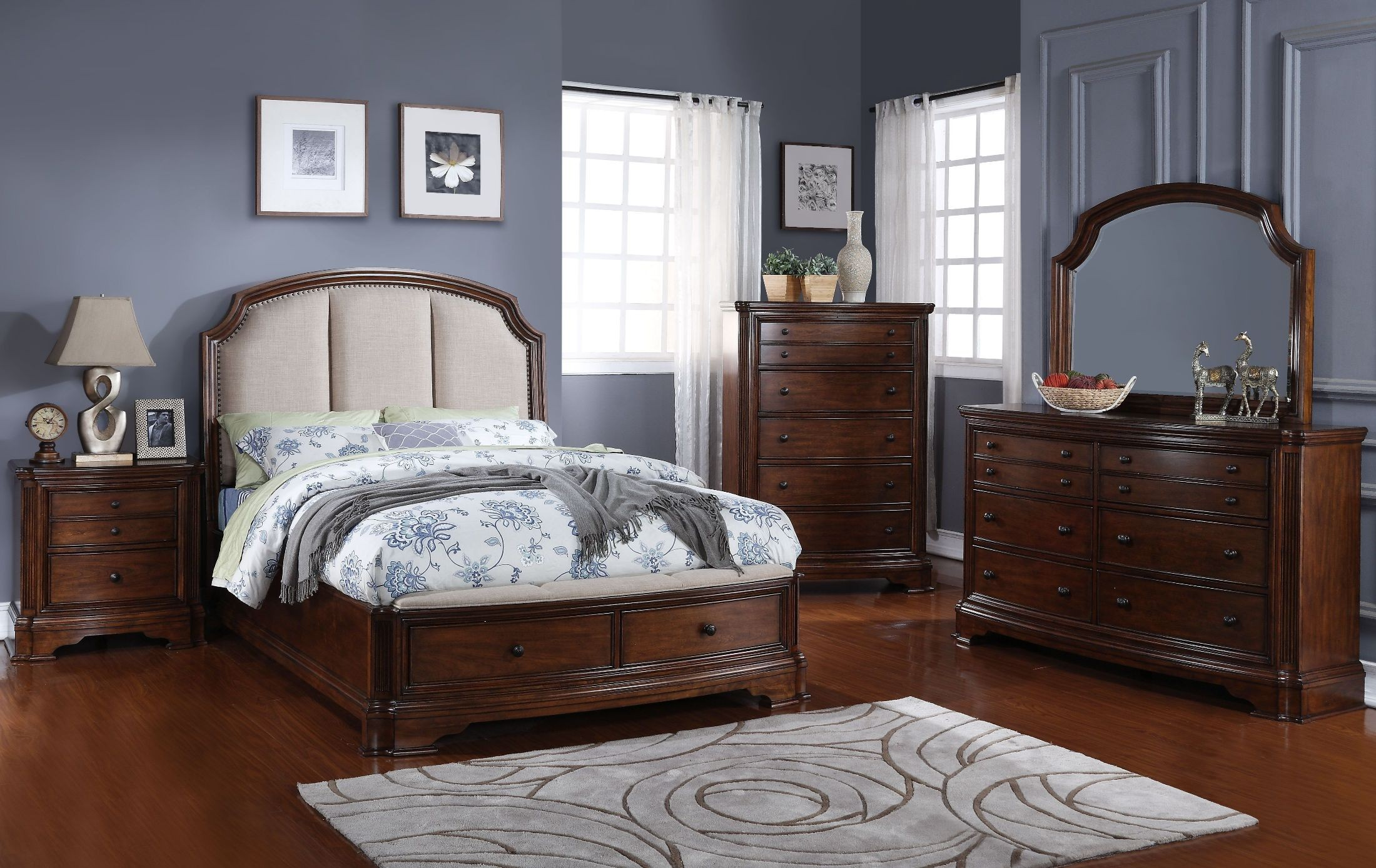 Chateaux Paix Cherry Upholstered Storage Bedroom Set