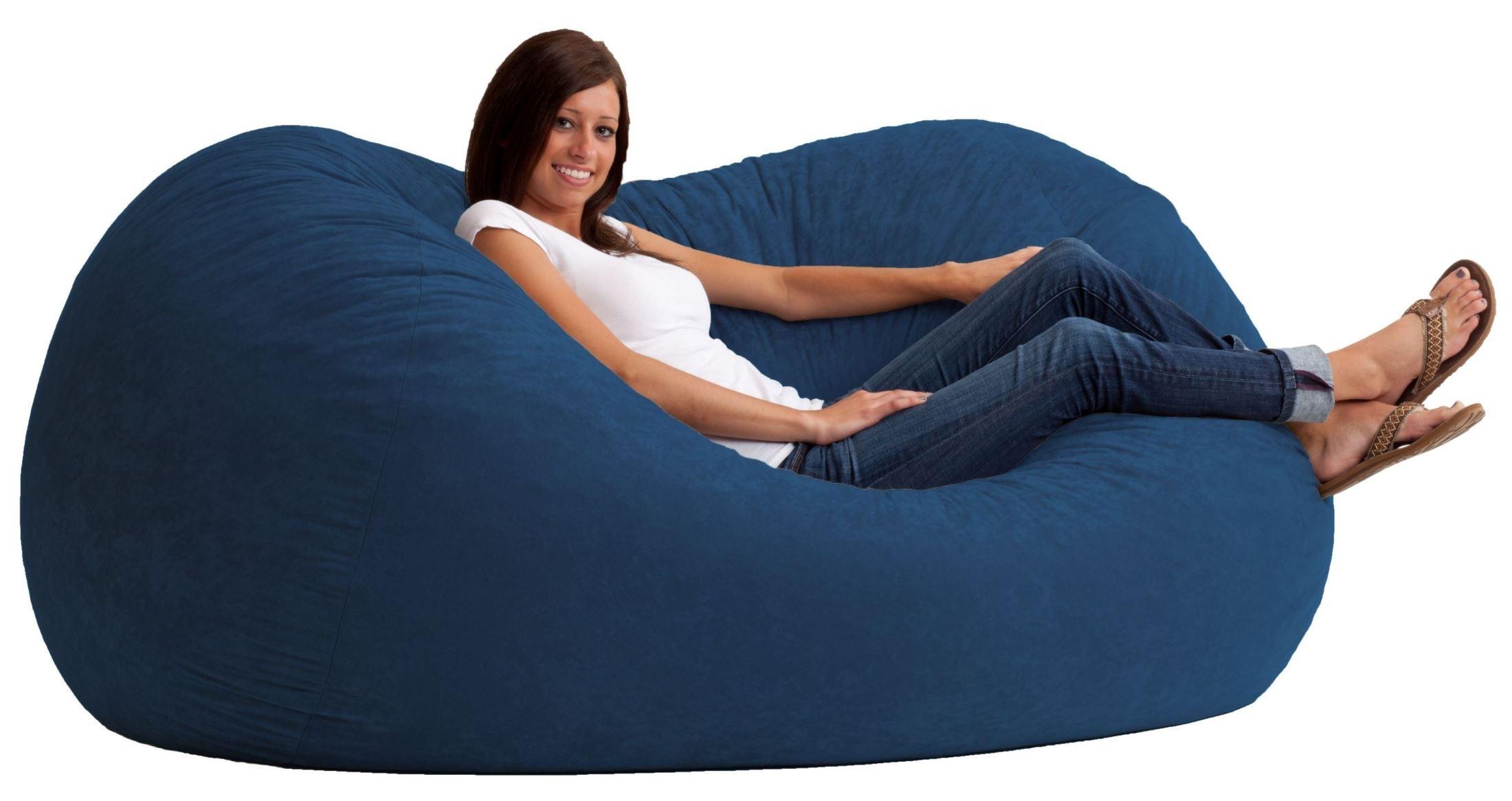 Big Joe Xl Fuf Blue Sky Suede Comfort Bean Bag From