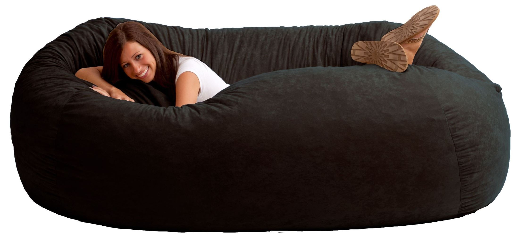 Big Joe Xxl Fuf Black Onyx Suede Comfort Bean Bag From