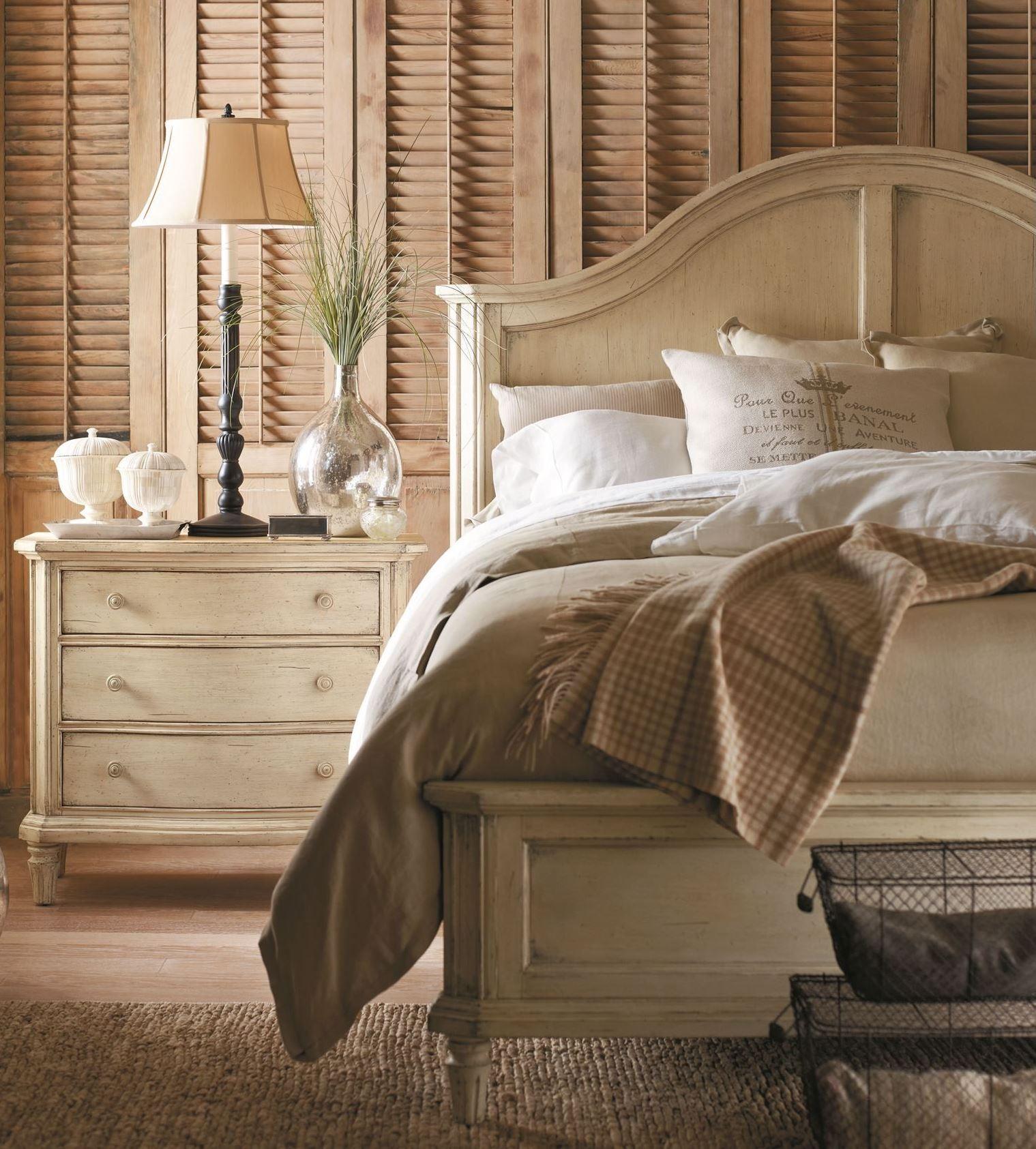 European Cottage Vintage White Panel Bedroom Set From