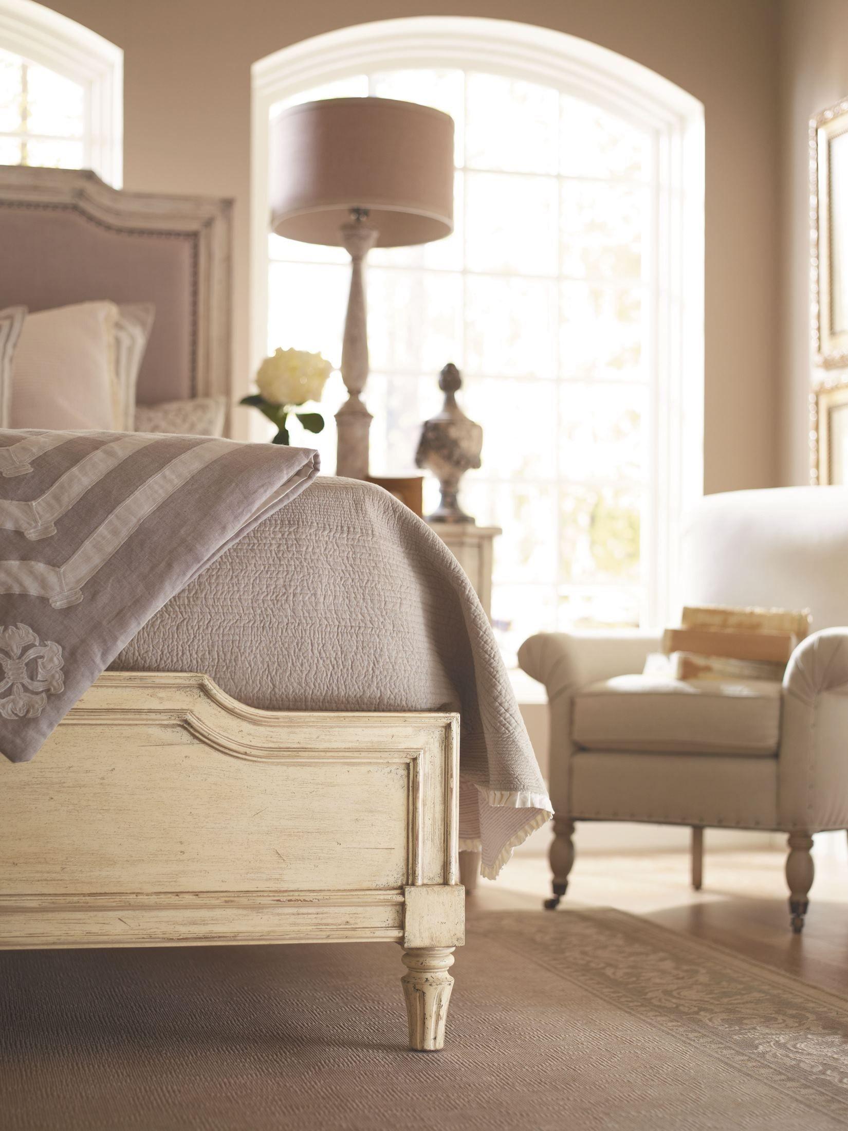 European Cottage Vintage White Upholstered Bedroom Set ...