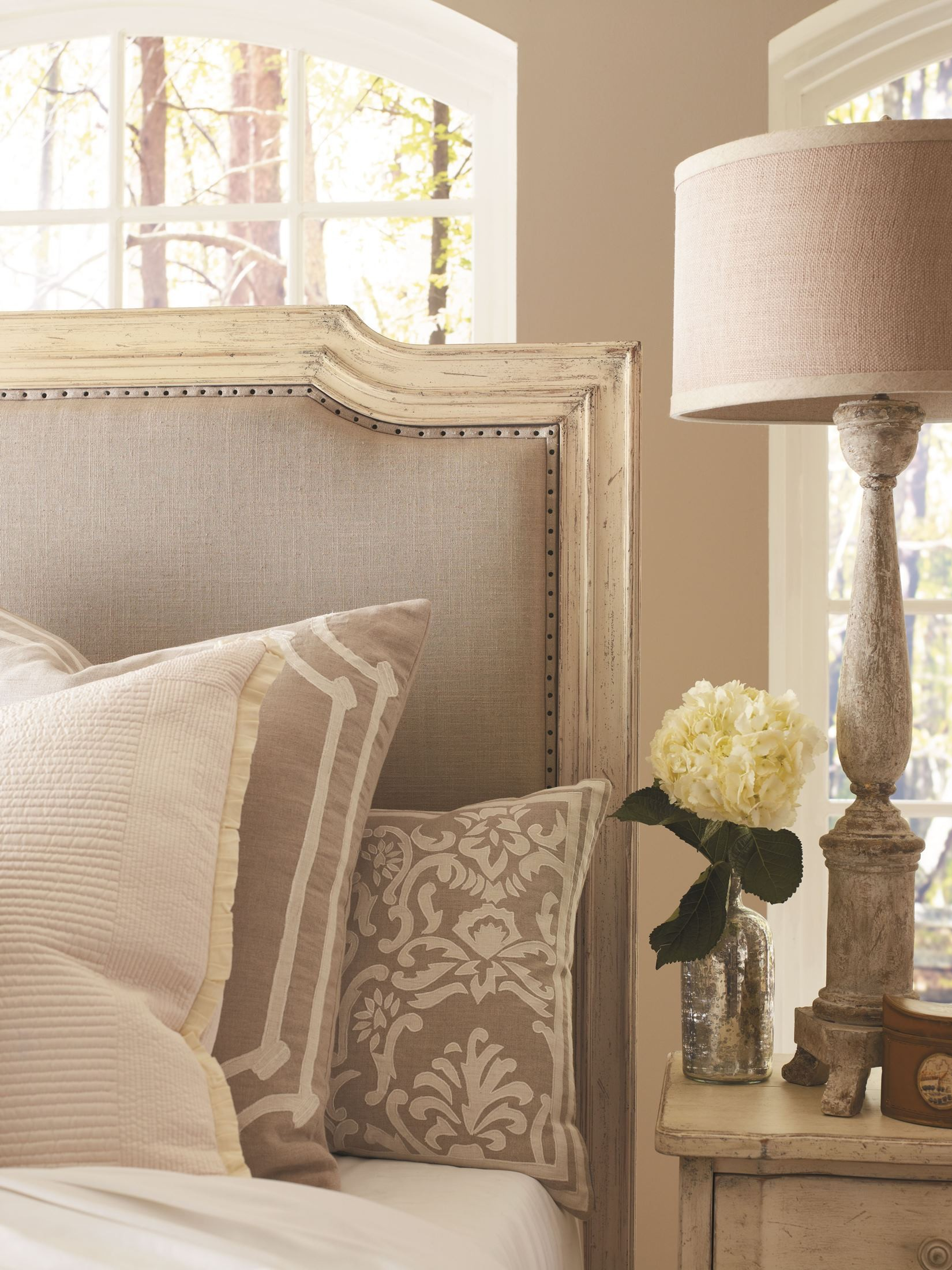 European Cottage Vintage White Queen Upholstered Bed From