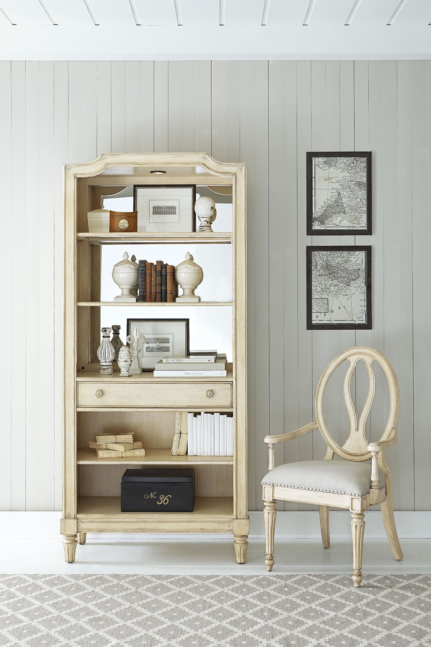 European Cottage Vintage White Bookcase From Stanley 007