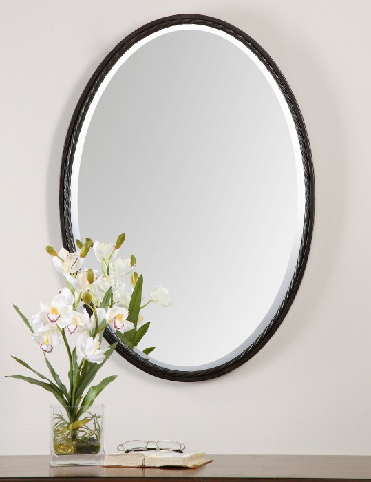 Casalina oil rubbed bronze oval mirror from uttermost - Oil rubbed bronze bathroom mirrors ...