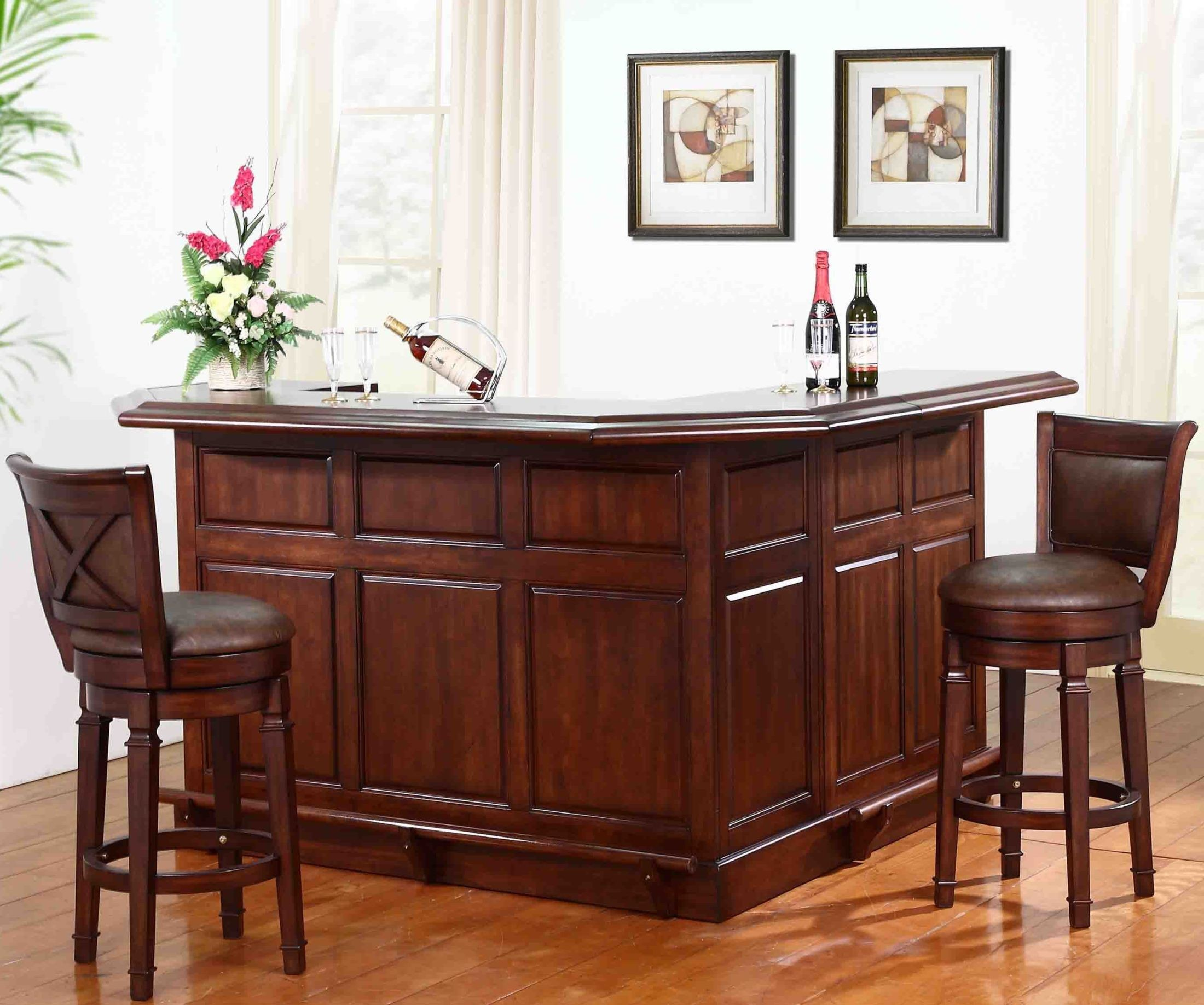 Belvedere Distressed Walnut Return Bar Set From Eci