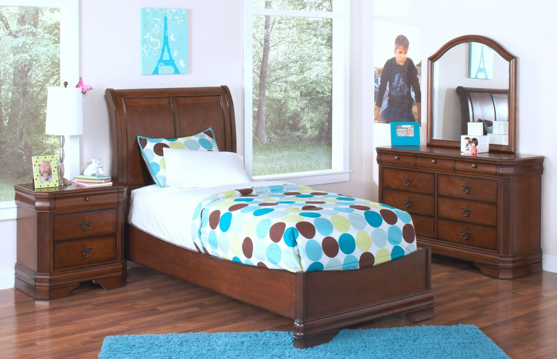 Sheridan Burnished Cherry Youth Sleigh Bedroom Set From New Classics 05 005 510 520 530