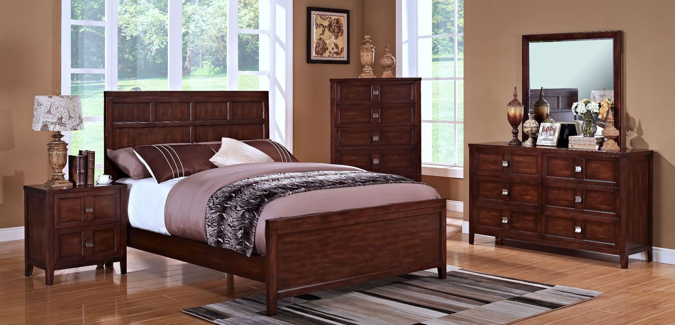 Ridgecrest distressed walnut youth panel bedroom set from for Walnut bedroom furniture