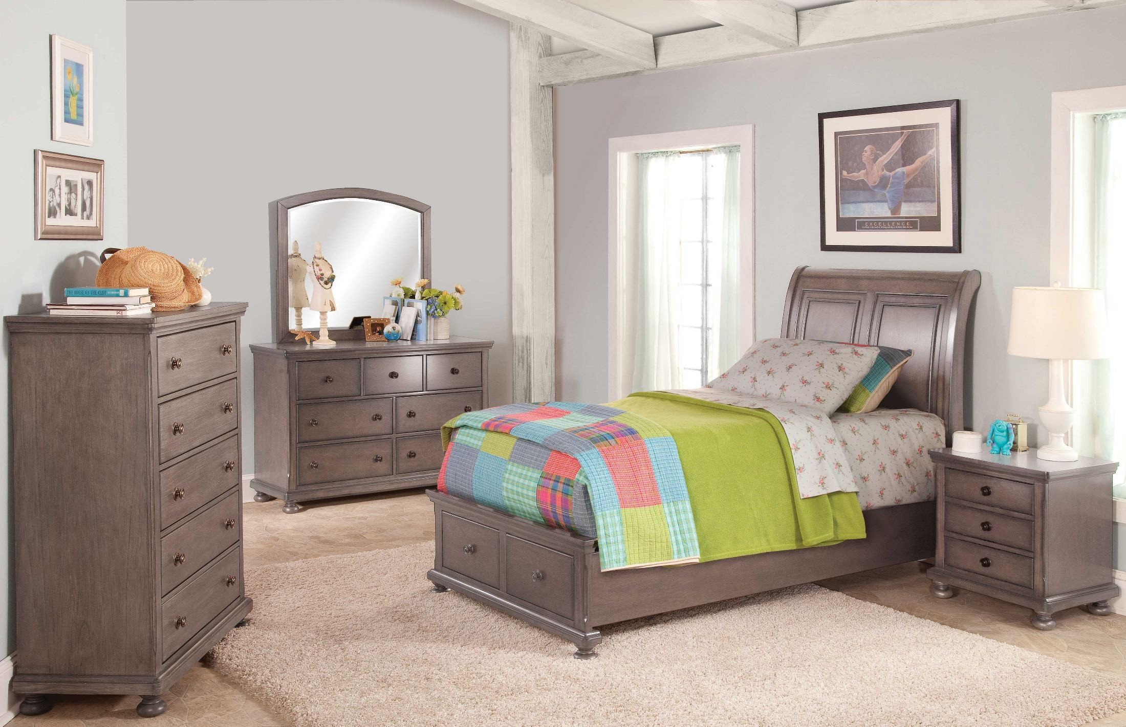 Allegra youth pewter youth sleigh storage bedroom set from new classic coleman furniture for Youth storage bedroom furniture