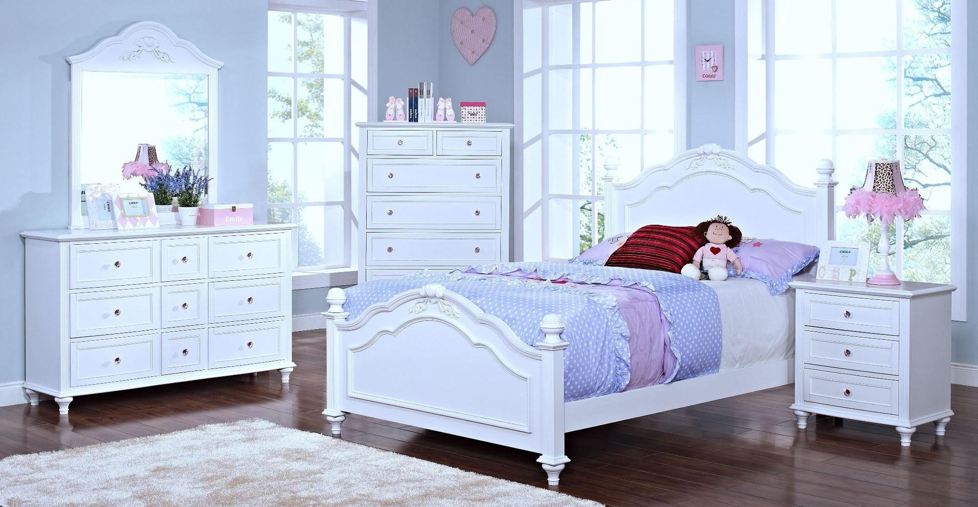 Megan Youth White Poster Bedroom Set From New Classics 05 242 510 520 530 Coleman Furniture