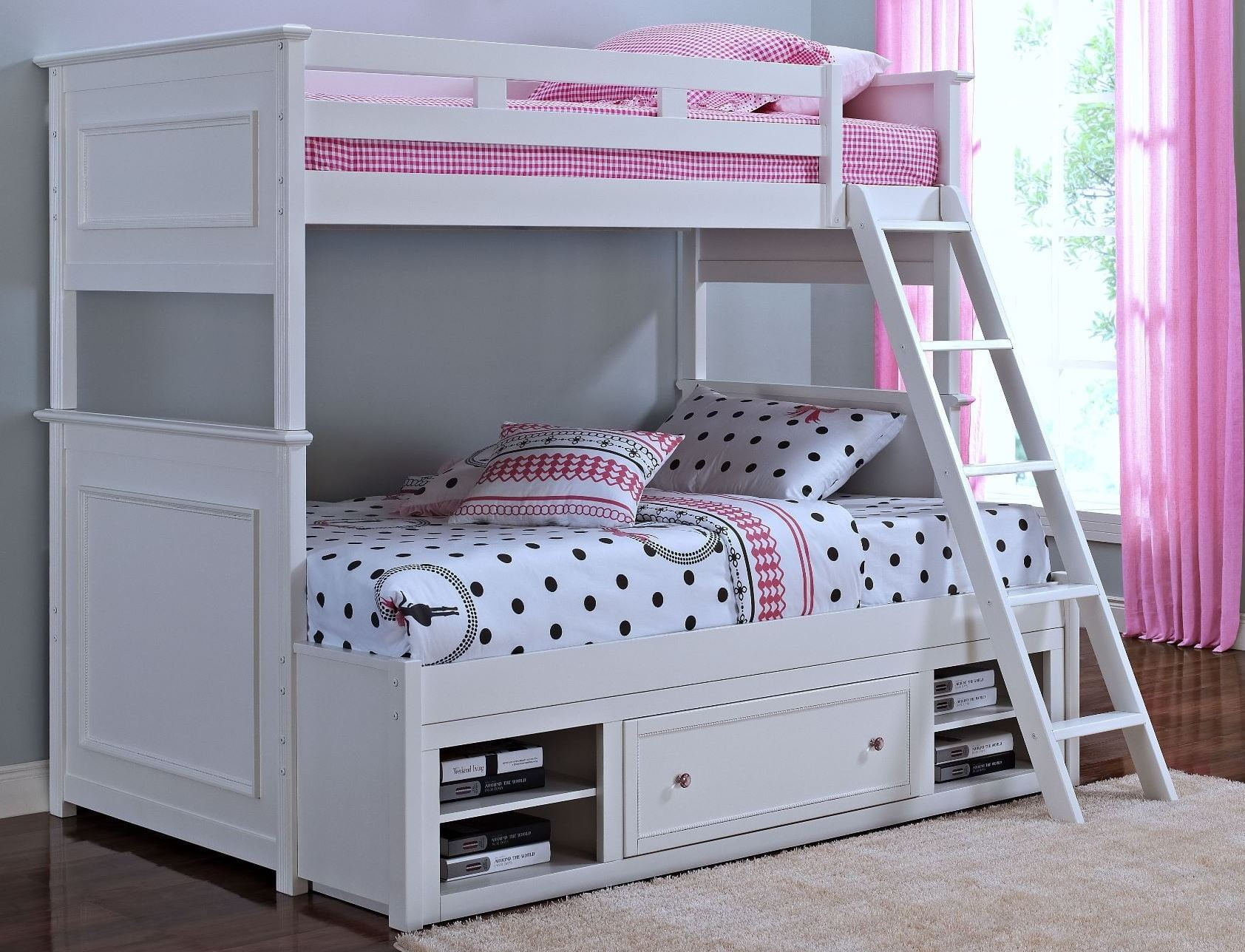 megan youth white twin over twin storage bunk bed from new classics 05 242 518 538 598. Black Bedroom Furniture Sets. Home Design Ideas