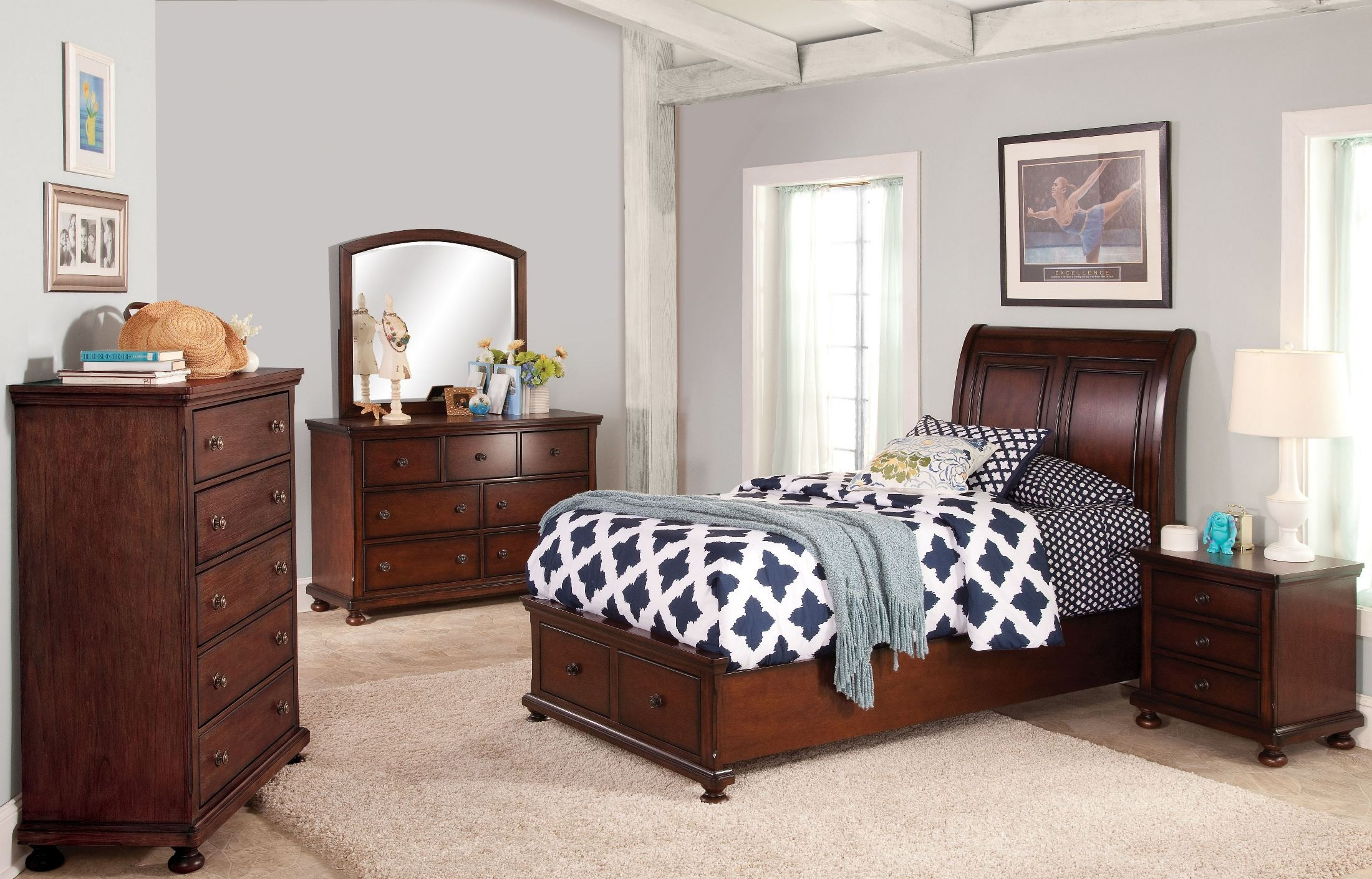 Jesse youth cherry brown youth storage bedroom set from - Youth bedroom furniture with storage ...