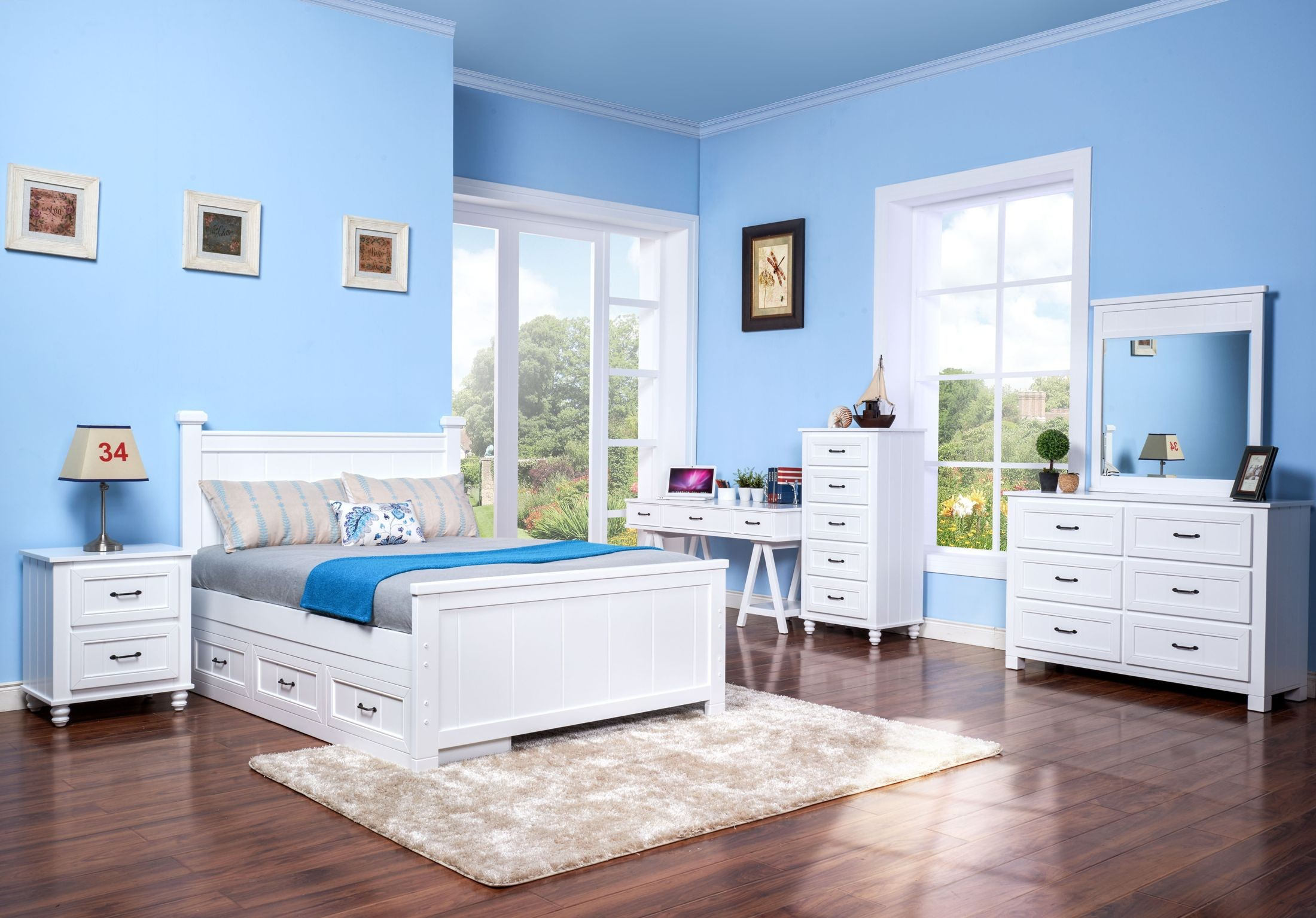 Taylor white youth storage panel bedroom set from new classic coleman furniture for Youth storage bedroom furniture