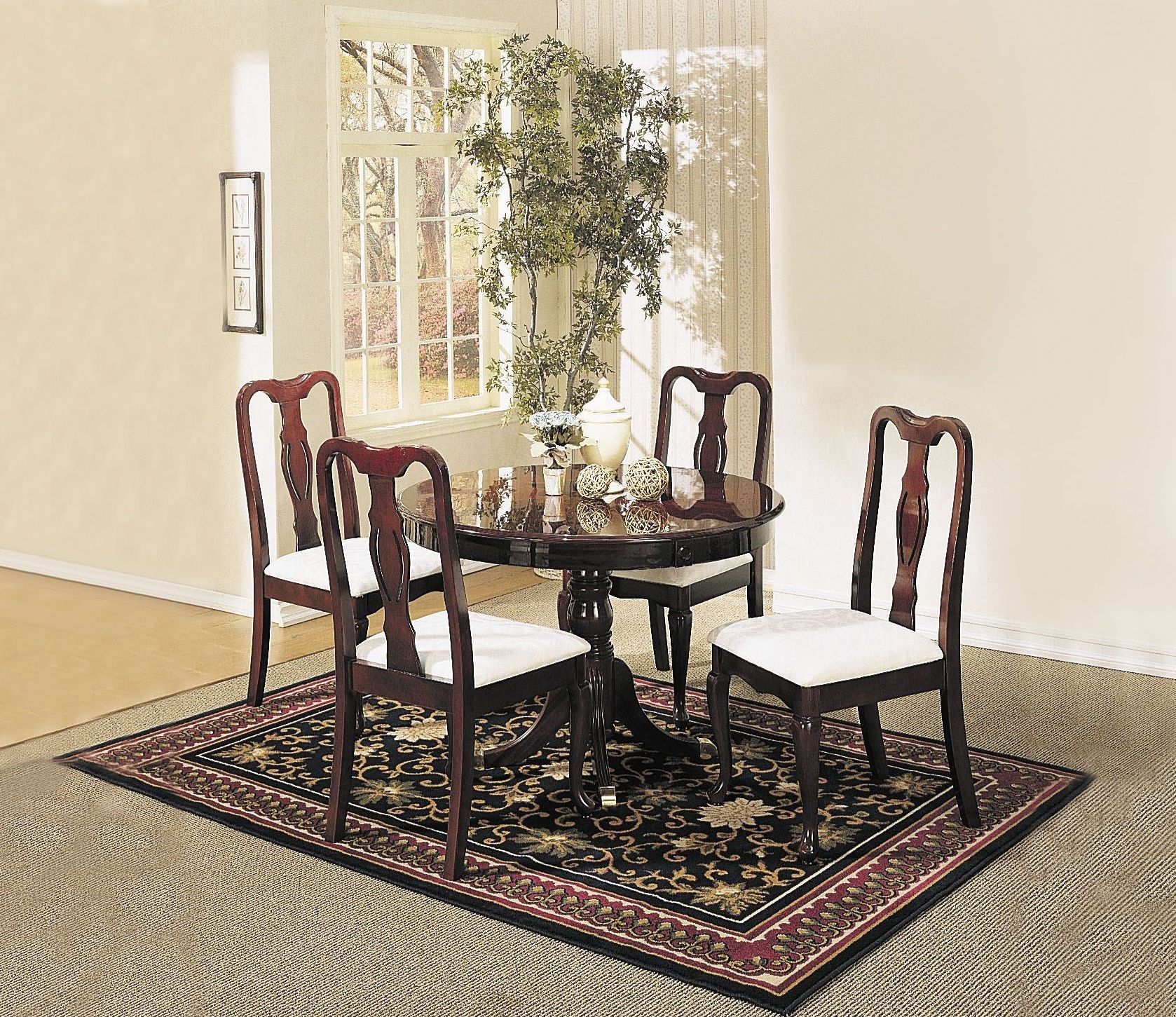 Queen Anne Cherry 5 Piece Round Dining Room Set. ID: ACM 06005. 0.  PreviousNext. X