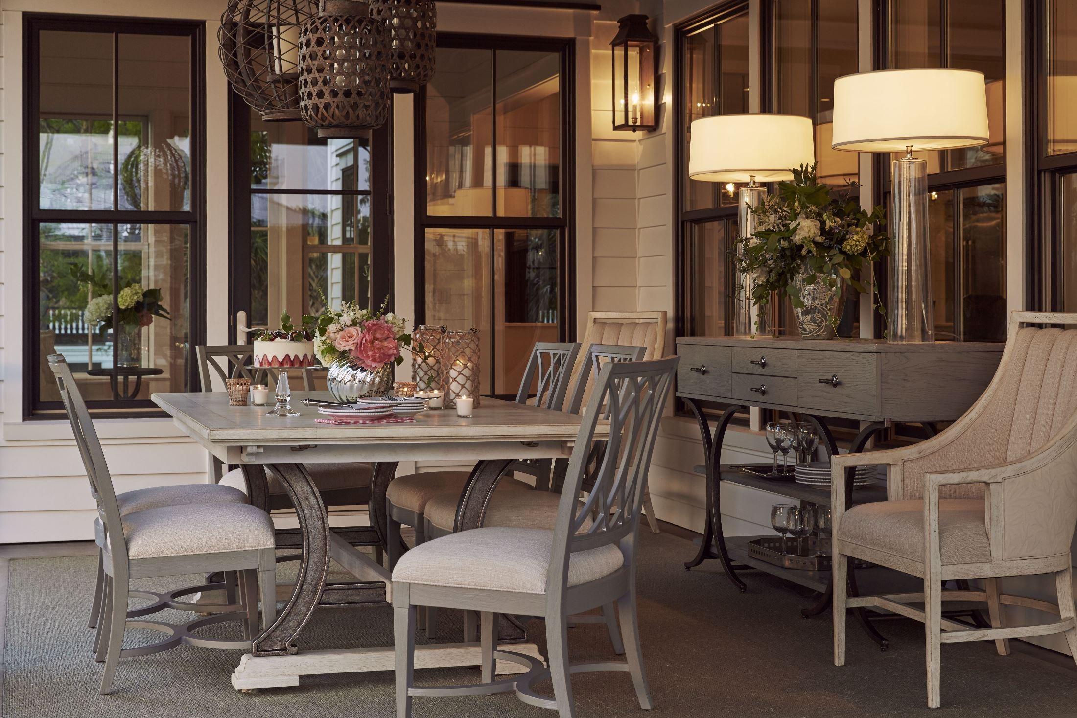 Coastal Living Dining Table: Resort Sail Cloth Shelter Bay Extendable Rectangular