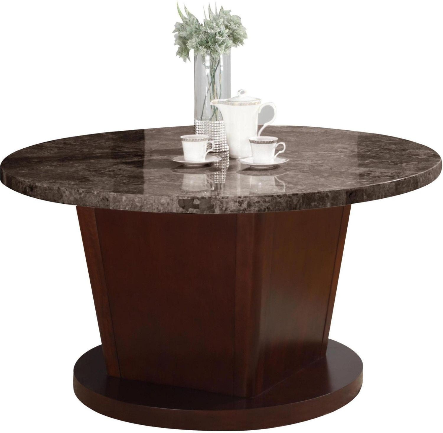 Danville black marble and walnut round dining table from for Black round dining table