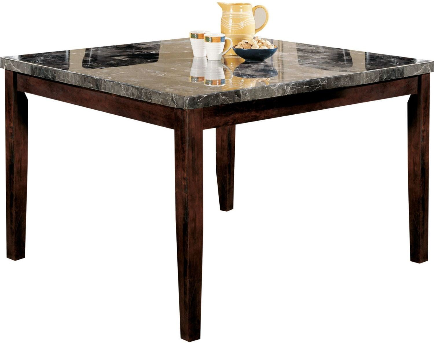 Danville Black Marble And Walnut Square Counter Height