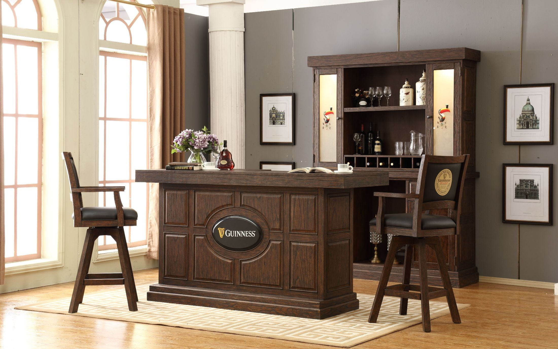 Guinness Antique Walnut 82 Quot Bar Set From Eci Furniture