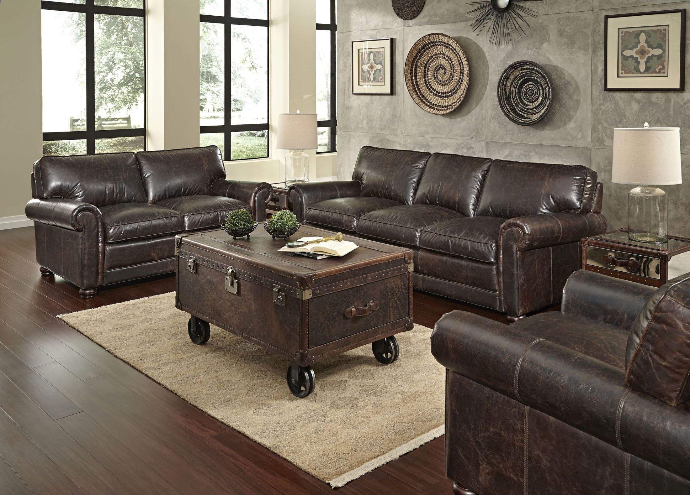 Genesis brompton chocolate leather living room set from - Chocolate leather living room furniture ...