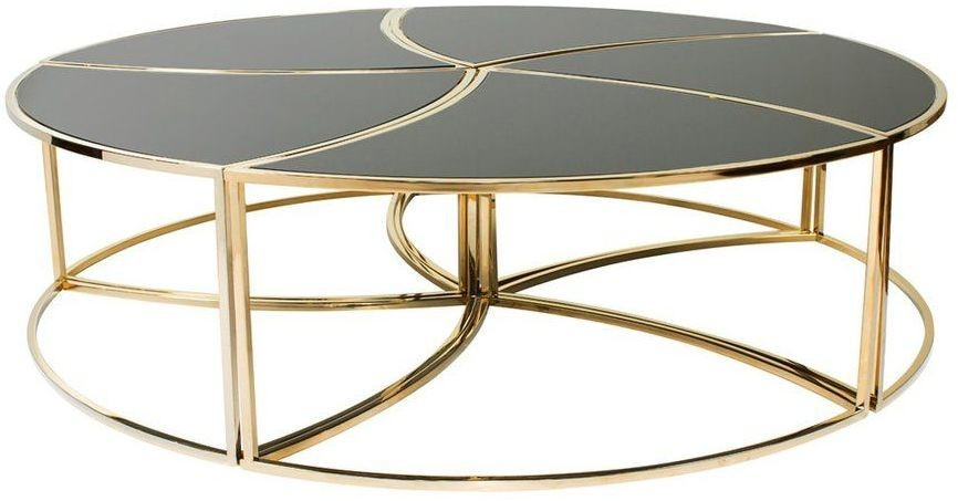 Flower Gold And Black Coffee Table From Curations Limited Coleman Furniture