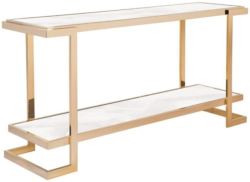 Deco White And Gold Console Table From Curations Limited