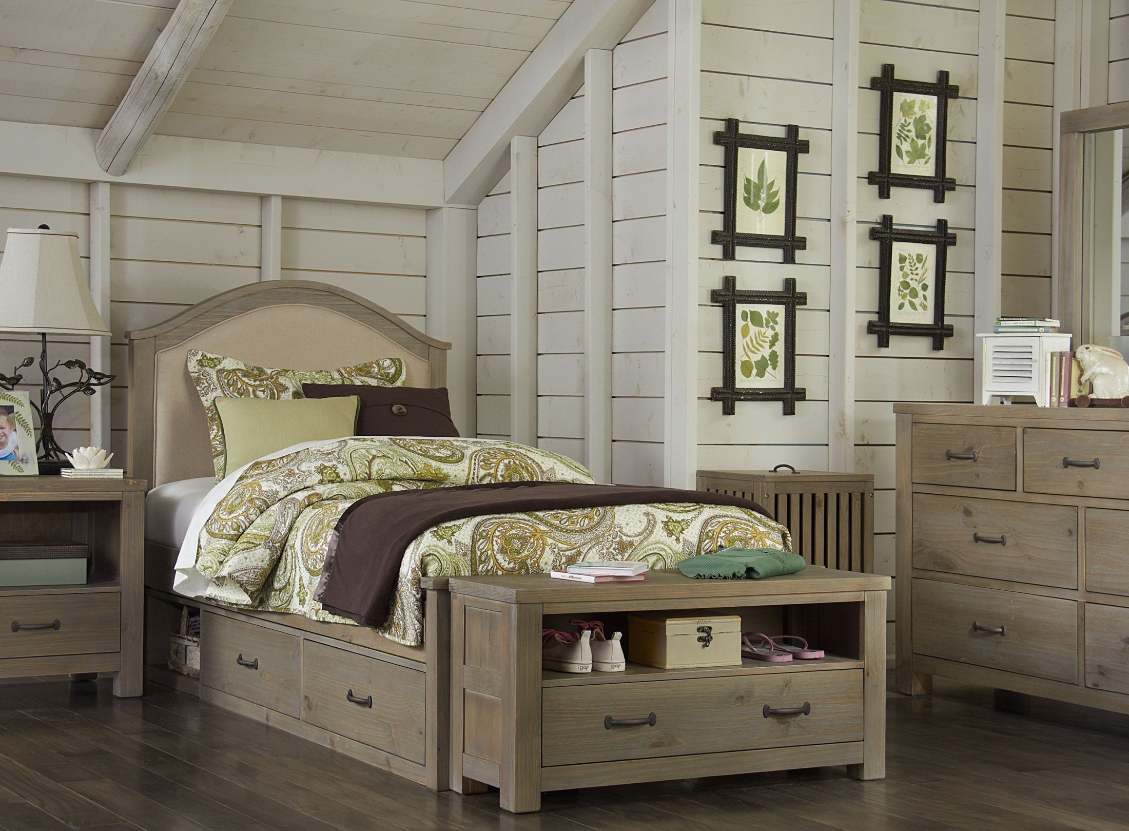 highlands bailey driftwood youth panel storage bedroom set from ne kids | coleman furniture