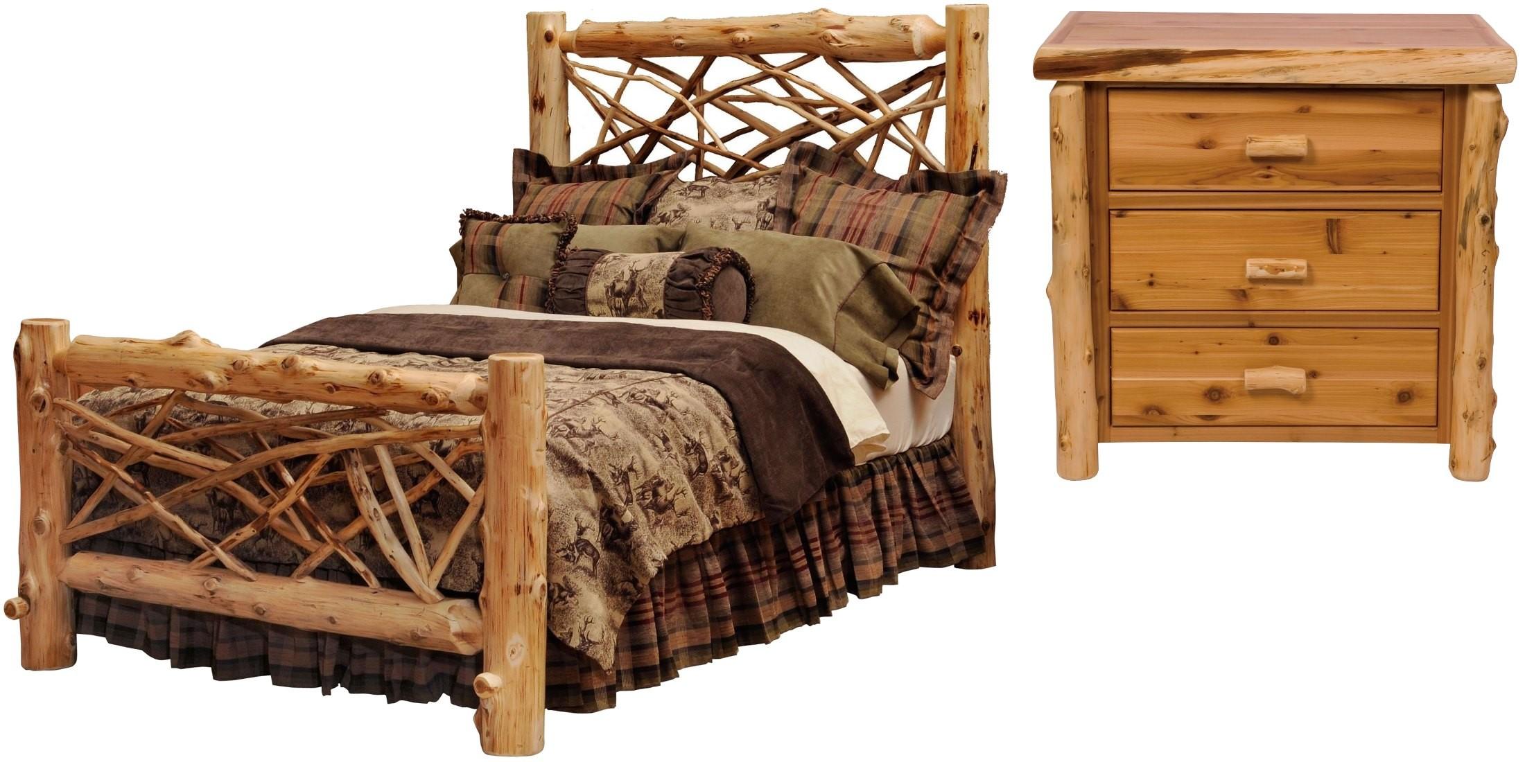 Traditional cedar twig bedroom set from fireside lodge 10043 coleman furniture - Cedar bedroom furniture ...
