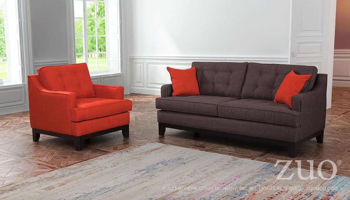 Chicago Burnt Orange & Charcoal Living Room Set from Zuo ...