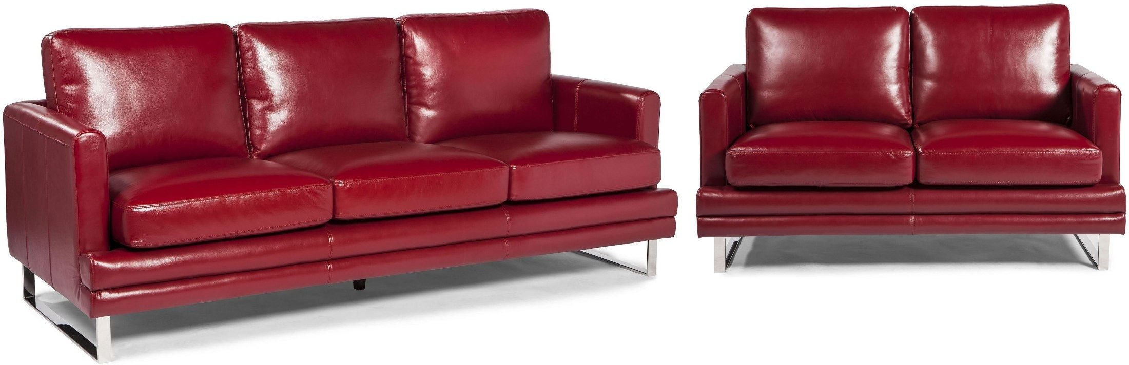 Melbourne Berry Red Leather Living Room Set