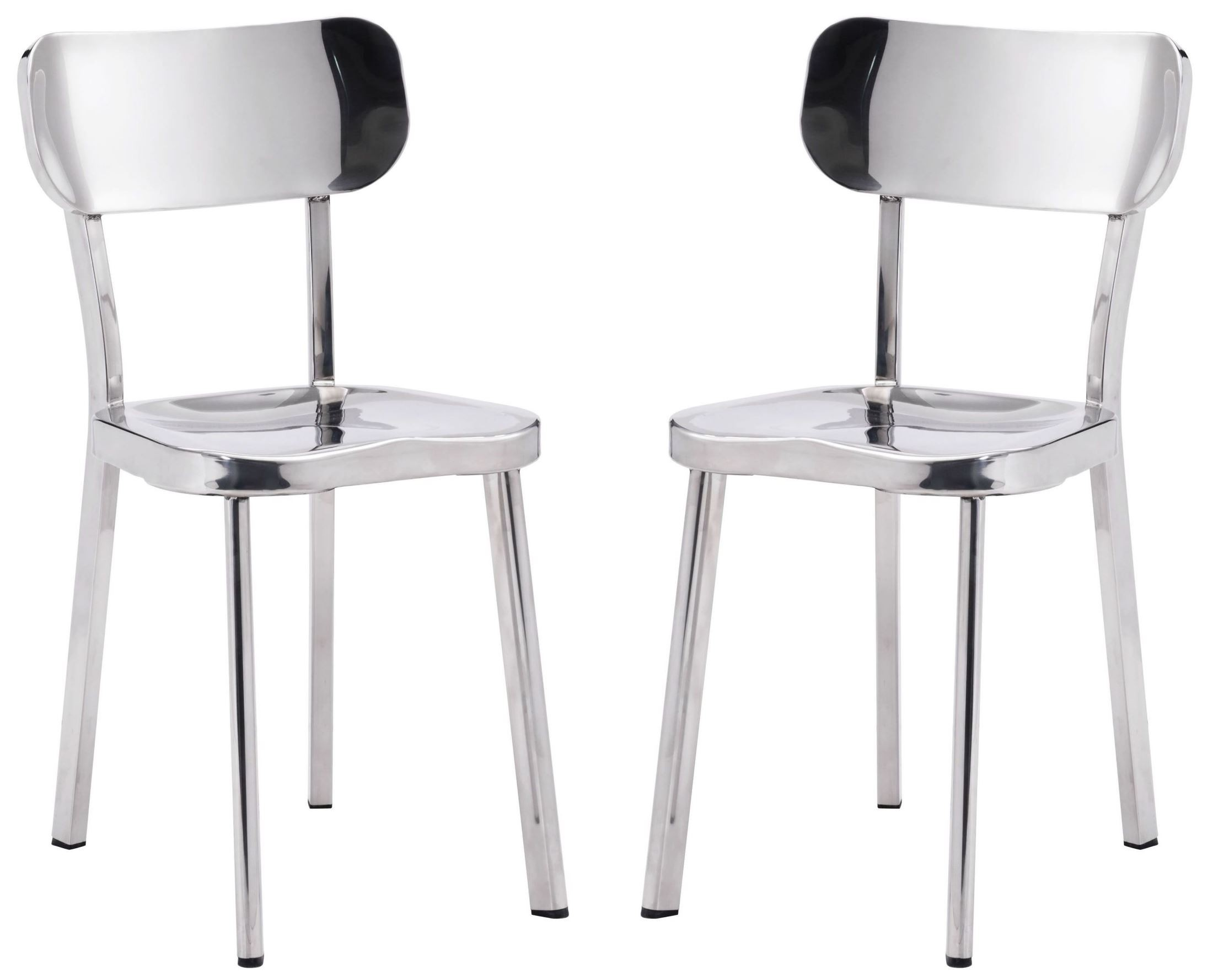 stainless steel dining room chairs | Winter Polished Stainless Steel Dining Chair Set of 2 from ...