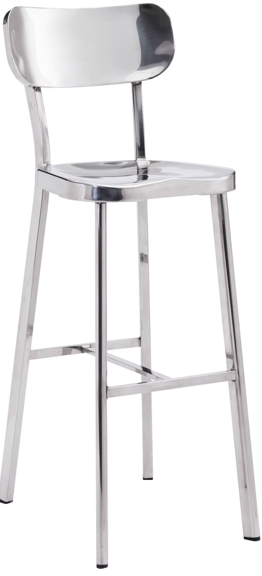 Winter Polished Stainless Steel Bar Chair From Zuo Mod