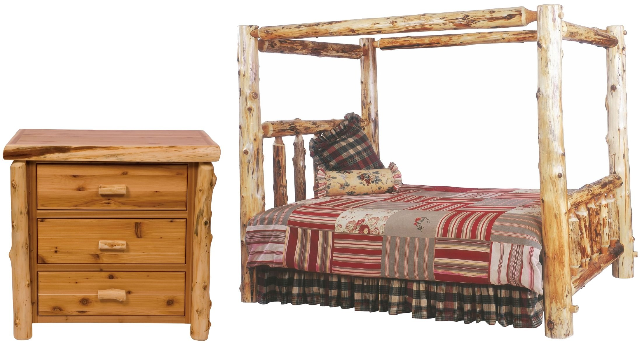 Traditional Cedar Youth Canopy Log Bedroom Set From