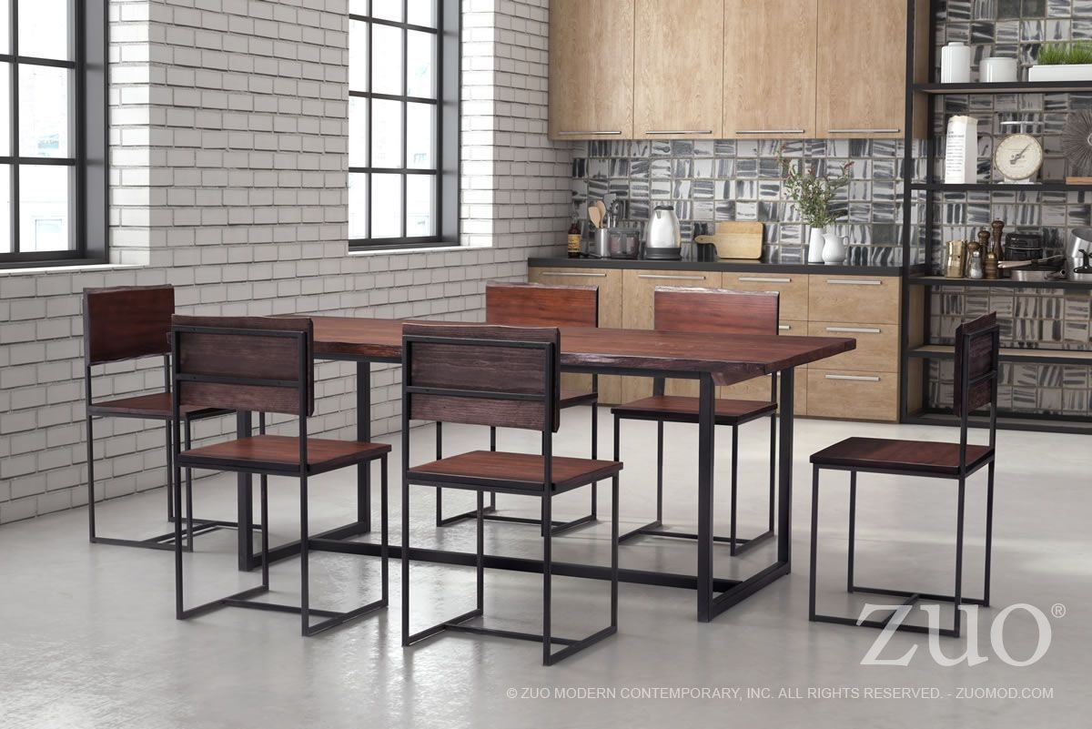 Papillion distressed cherry oak dining room set from zuo for Oak dining room set