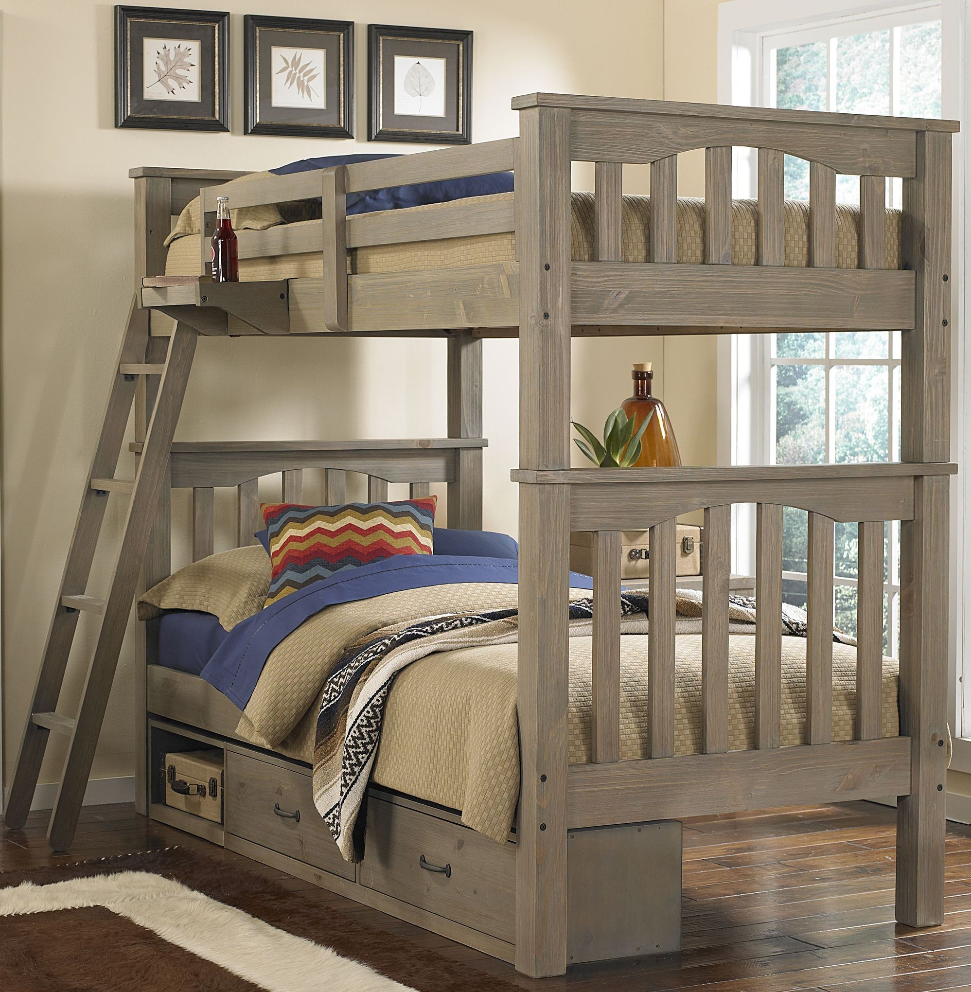 Boat Bed With Trundle And Toy Box Storage: Highlands Harper Driftwood Twin Over Twin Storage Bunk Bed