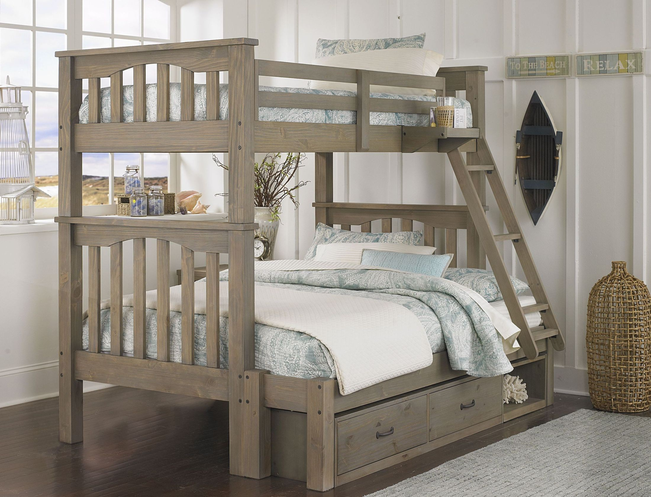 Highlands Harper Driftwood Twin Over Full Storage Bunk Bed