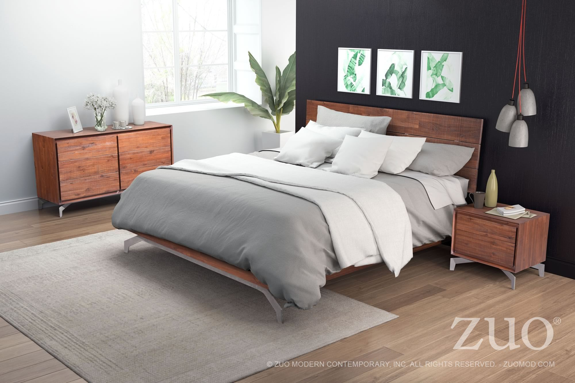 Perth chestnut platform bedroom set from zuo coleman for Bedroom furniture perth