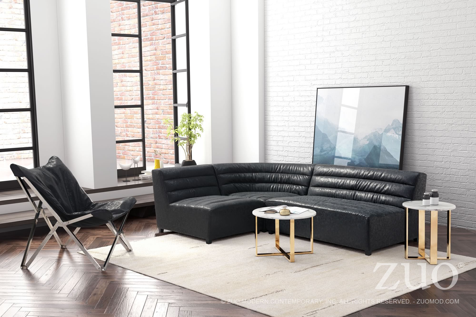 Soho Vintage Black Sectional from Zuo | Coleman Furniture