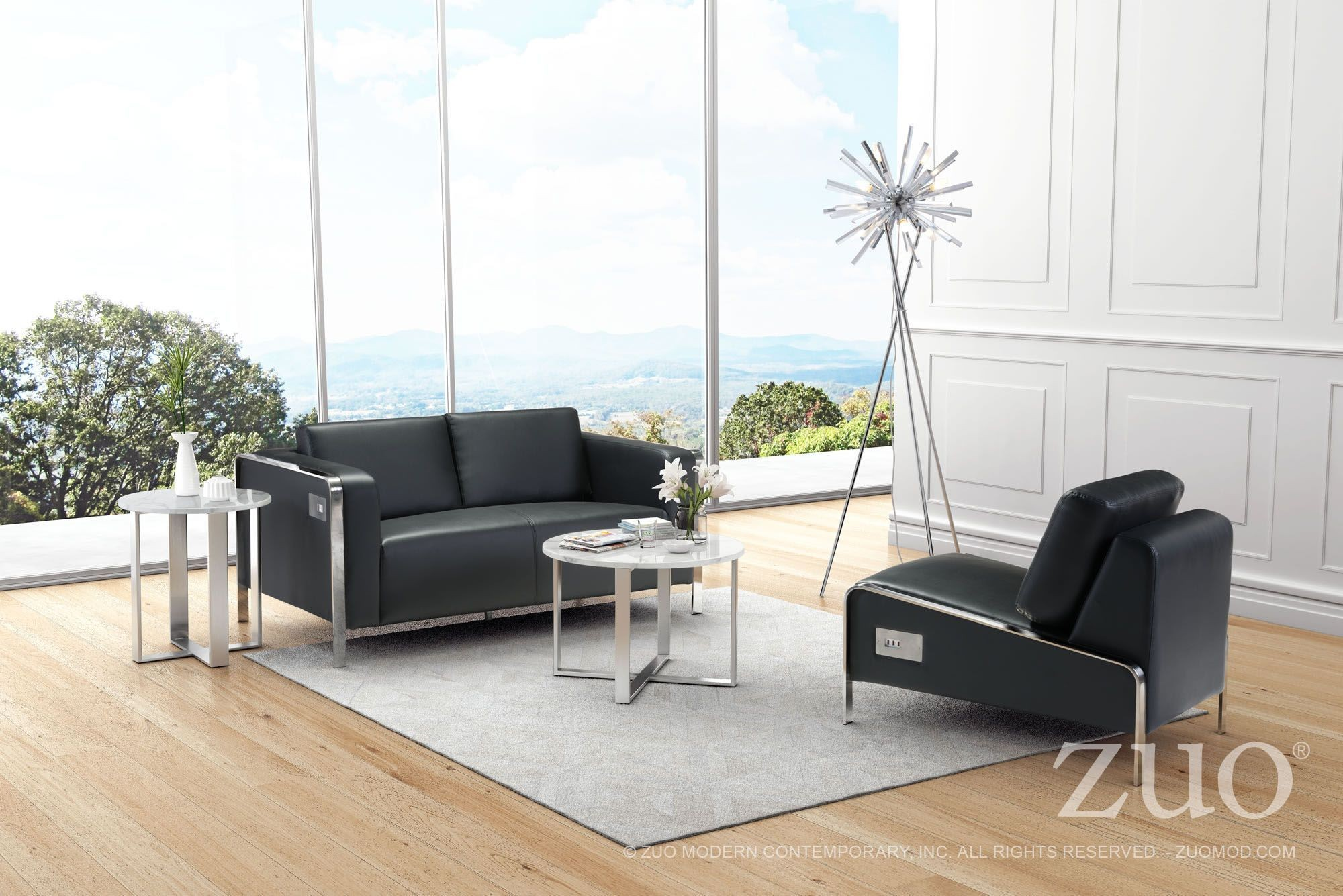 Thor black upholstered living room set from zuo coleman for Black living room set