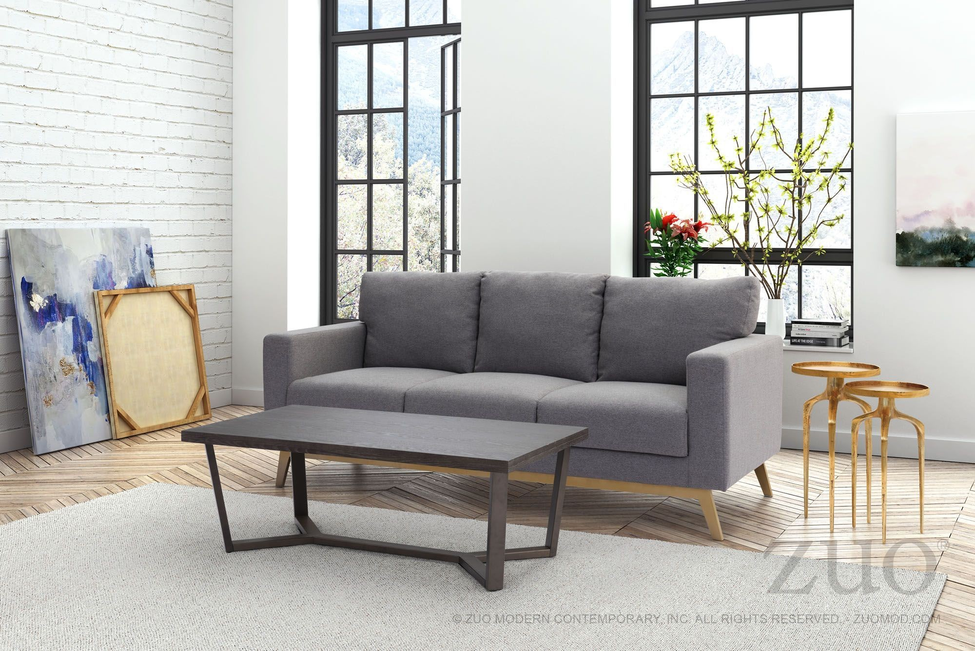 Didactic Light Gray Sofa from Zuo