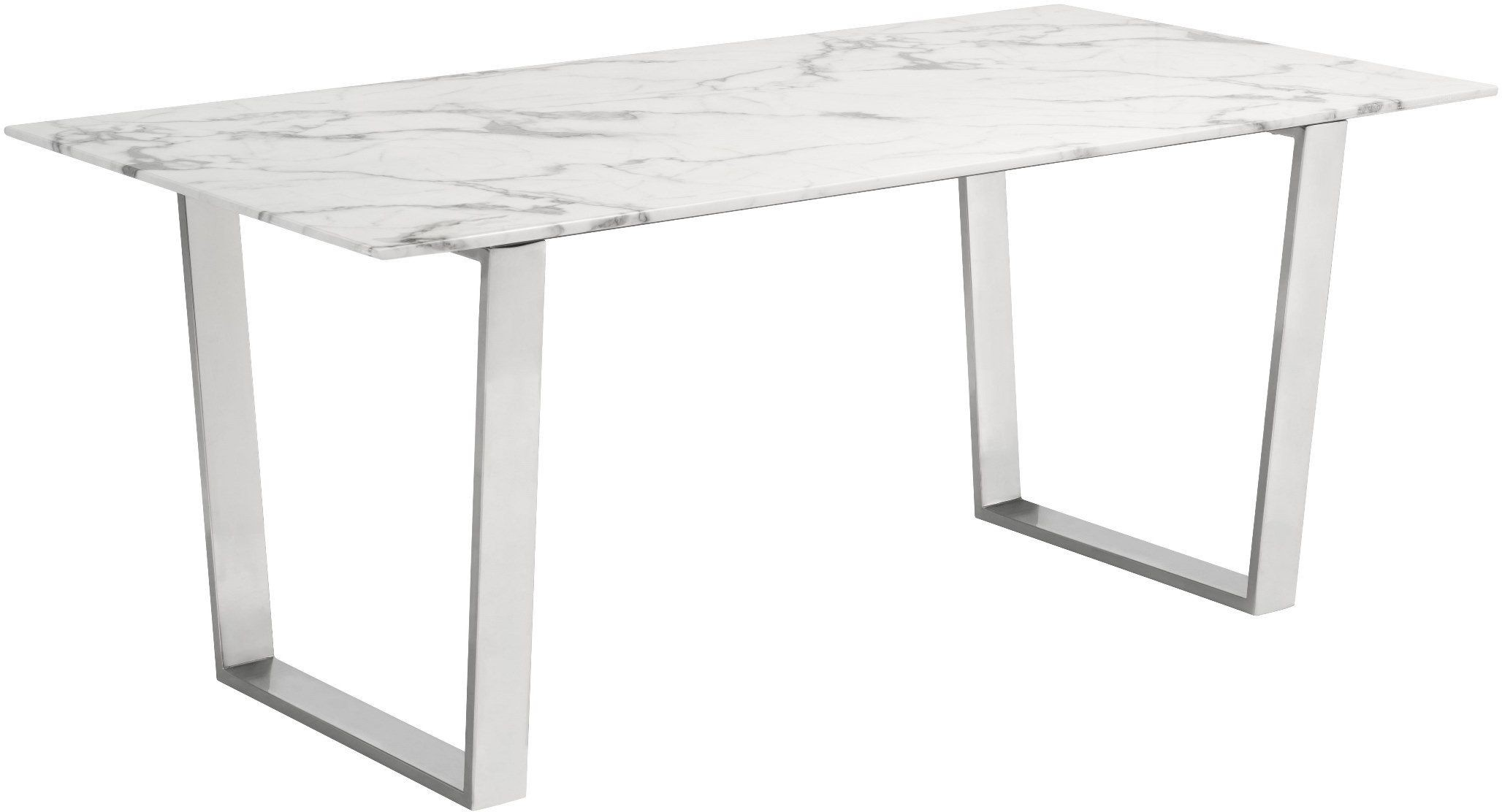Atlas Stone And Stainless Steel Dining Table From Zuo