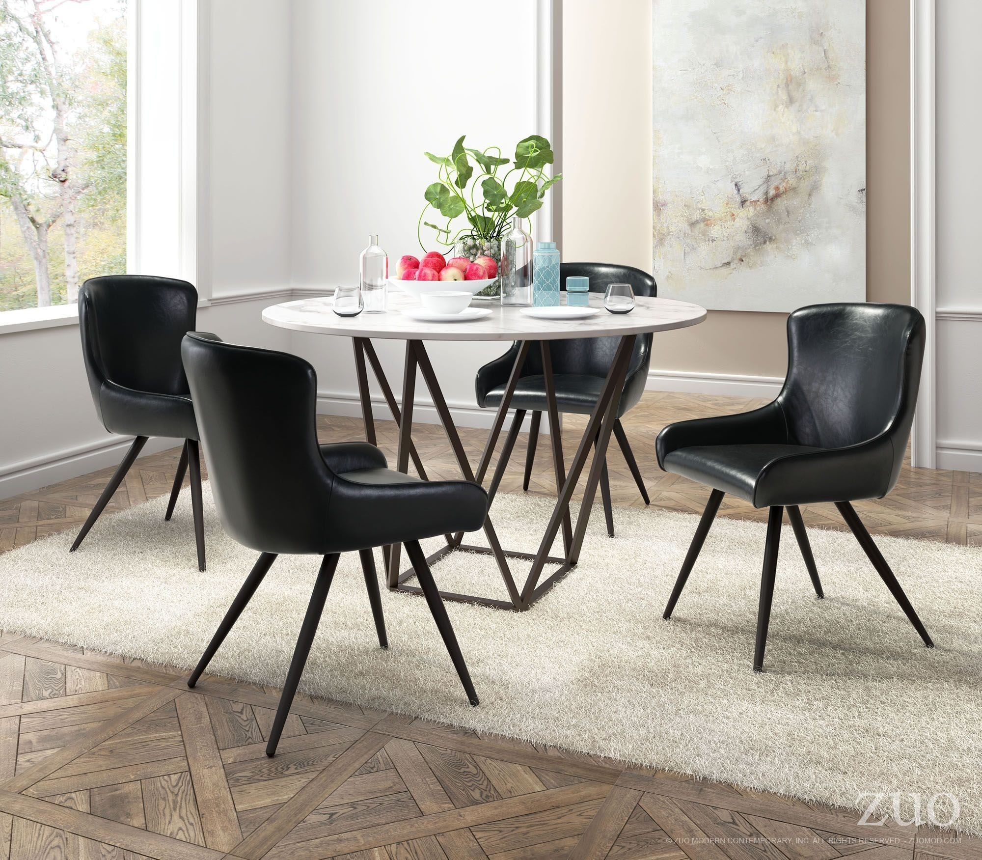 Tintern Stone And Antique Brass Steel Dining Table