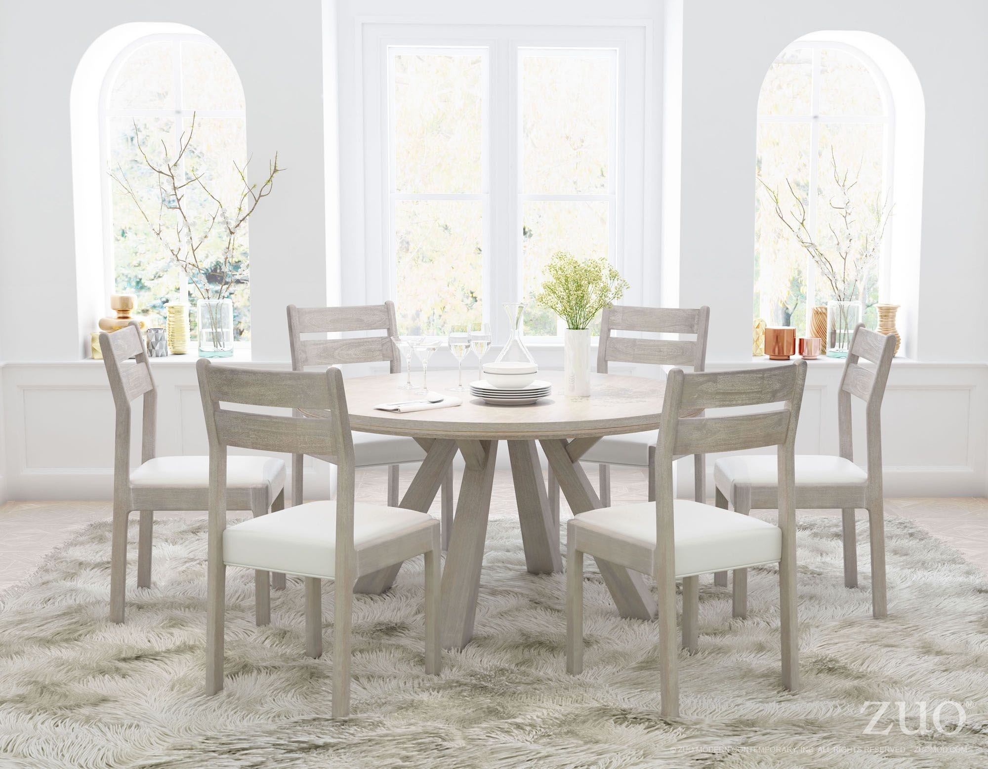 Beaumont sun drenched acacia round dining room set from for Dining room 95 hai ba trung