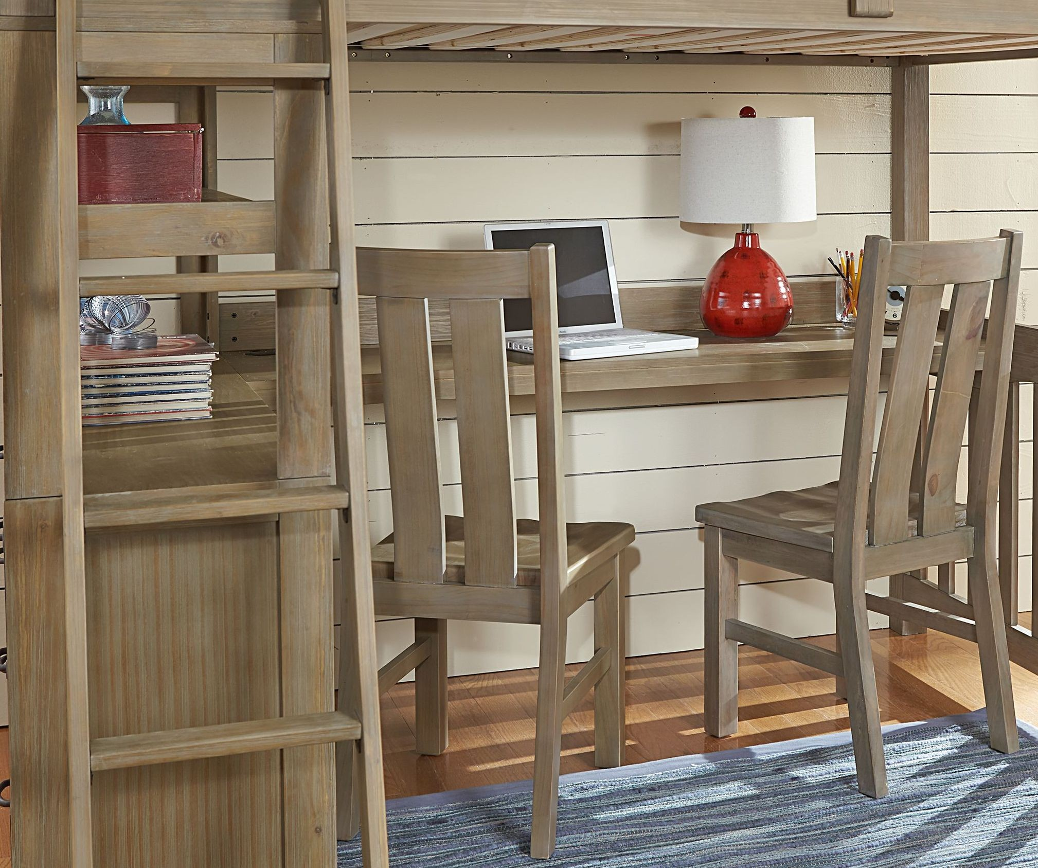 Highlands Driftwood Full Loft Bed With Desk And Chair From