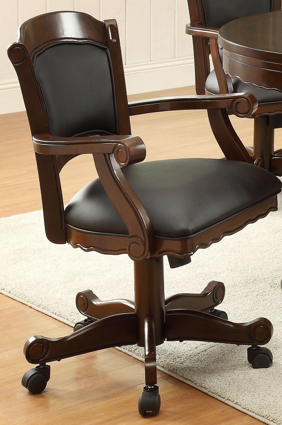Solid oak arm chair from coaster coleman furniture
